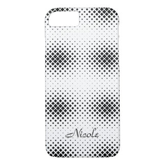 Elegant Black and White Square Pattern Monogram iPhone 8/7 Case
