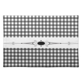 Elegant Black And white square Placemat
