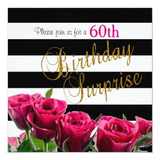 Elegant Black and White Stripes and Pink Roses 13 Cm X 13 Cm Square Invitation Card