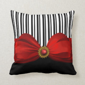 Elegant Black and White Stripes and Red Bow Pillow