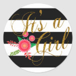 Elegant Black and White Stripes With Pink Floral Round Sticker