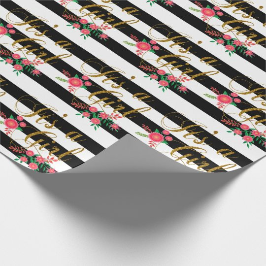 Elegant Black and White Stripes With Pink Floral