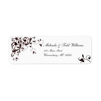 Elegant black and white swirl return address label