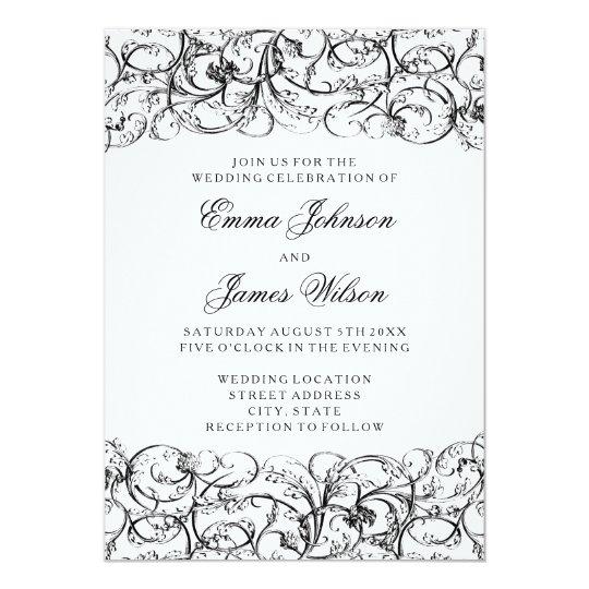 Elegant black and white swirls wedding invitation