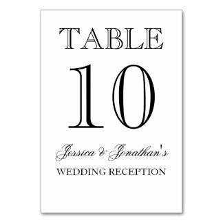 Elegant Black and White Table Number Card