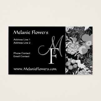 Elegant Black and white Vintage Flowers Monogram