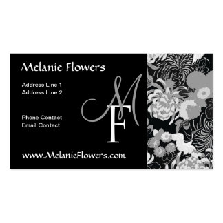 Elegant Black and white Vintage Flowers Monogram Business Card