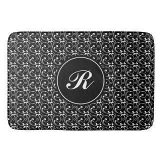 Elegant Black and White Vintage Pattern Monogram Bath Mat