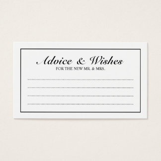 Elegant Black and White Wedding Advice and Wishes Business Card
