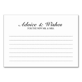 Elegant Black and White Wedding Advice and Wishes Card