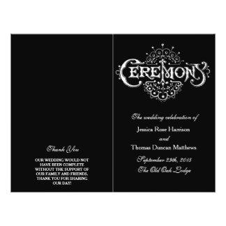 Elegant Black And White Wedding Ceremony Programs 21.5 Cm X 28 Cm Flyer