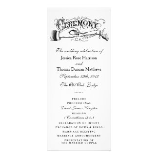 Elegant Black And White Wedding Ceremony Programs Rack Card Template