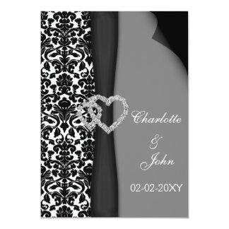 "elegant black and white wedding invitation 5"" x 7"" invitation card"