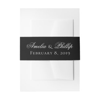 Elegant Black and White Wedding Invite Bands Invitation Belly Band