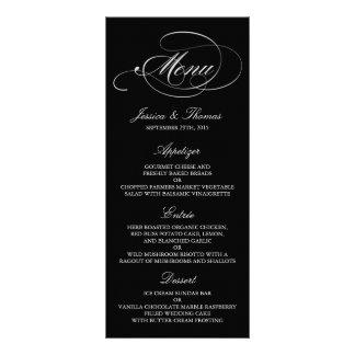 Elegant Black And White Wedding Menu Templates Customized Rack Card