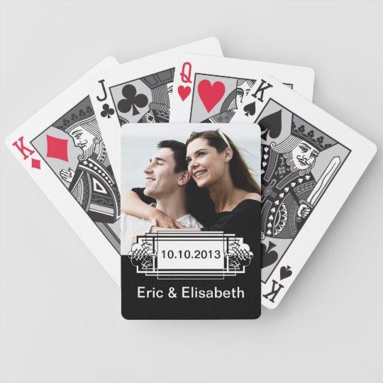 Elegant Black and White Wedding Souvenir Photo Poker