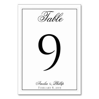 Elegant Black and White Wedding Table Numbers