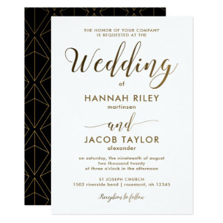 Elegant Black and White with Copper Look Wedding Card