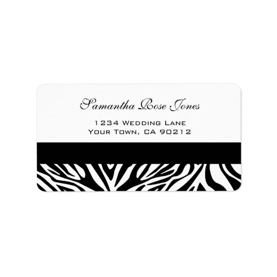 Elegant Black and White Zebra Custom Address Label