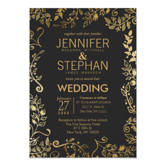 Elegant Black and Yellow Gold Floral Wedding Card