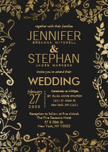 black and gold wedding invitations zazzle co uk