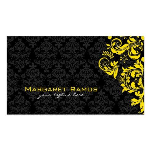 Elegant Black And Yellow Vintage Floral Damasks Business Card