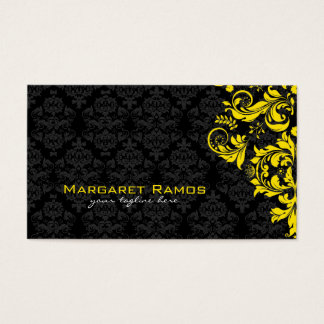 Elegant Black And Yellow Vintage Floral Damasks Business Card