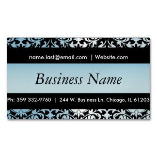 Elegant Black & Aqua Blue Damask Design Magnetic Business Cards