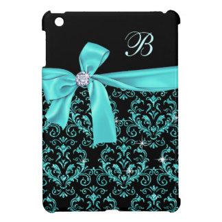 Elegant Black Aqua Damask Diamond Bow Monogram