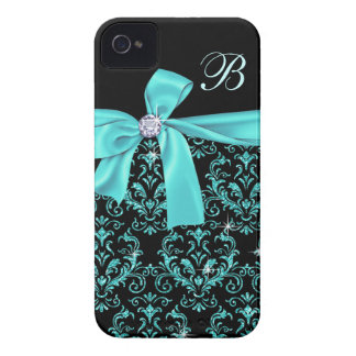 Elegant Black Aqua Damask Diamond Bow Monogram iPhone 4 Covers