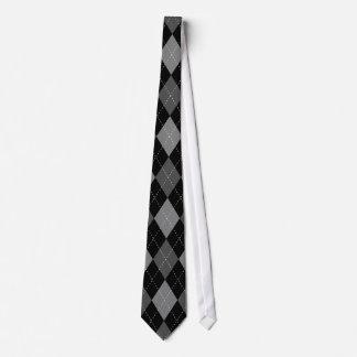 Elegant black argyle pattern wedding tie