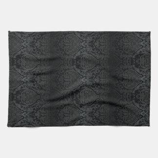 ELEGANT BLACK BAROQUE KITCHEN TOWEL