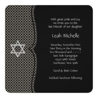 Elegant Black Bat Mitzvah 13 Cm X 13 Cm Square Invitation Card