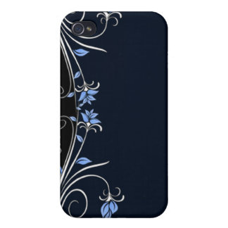 Elegant Black, blue and white floral i Cover For iPhone 4