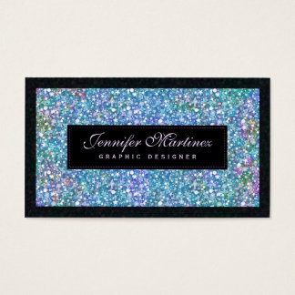 Elegant Black Blue-Green Glitter & Sparkles Business Card