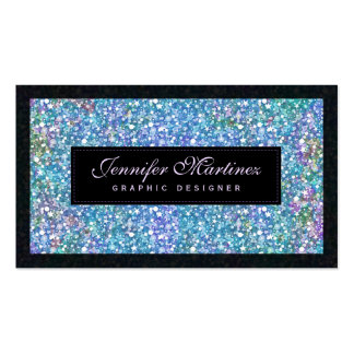 Elegant Black Blue-Green Glitter & Sparkles Pack Of Standard Business Cards