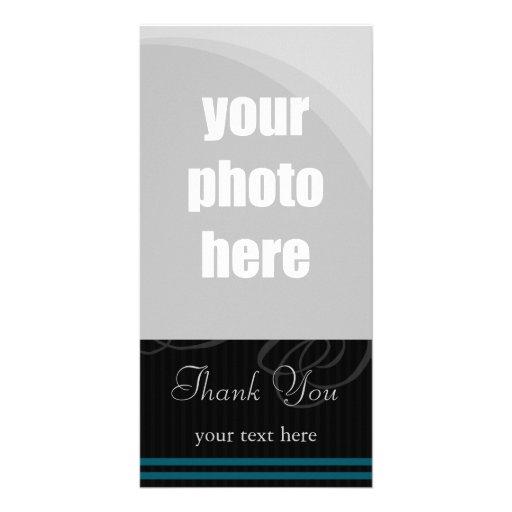"""Elegant Black/Blue """"Thank You"""" Customized Photo Card"""