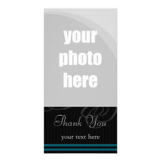 "Elegant Black/Blue ""Thank You"" Photo Card Template"