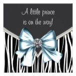 Elegant Black Blue Zebra Prince Baby Shower