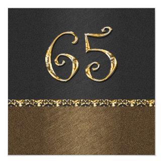 Elegant black brown 65th ANY AGE 13 Cm X 13 Cm Square Invitation Card