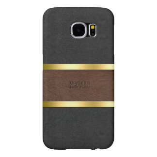 Elegant Black & Brown Leather Gold Accents Samsung Galaxy S6 Cases