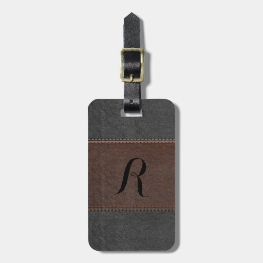 Elegant Black & Brown Vintage Leather Luggage Tag