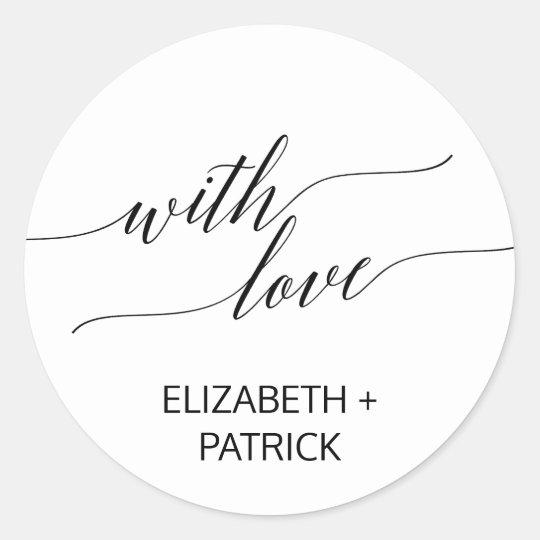 Elegant Black Calligraphy Wedding Favour Classic Round Sticker