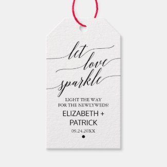 Elegant Black Calligraphy Wedding Sparkler Tags
