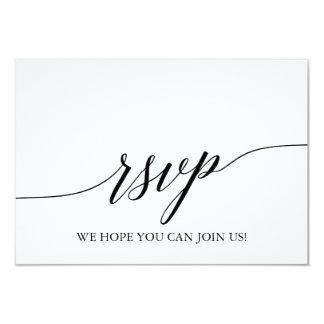 Elegant Black Calligraphy Wedding Website RSVP Card