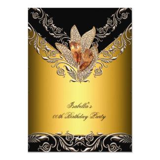 Elegant Black Caramel Gold Birthday Party 4.5x6.25 Paper Invitation Card