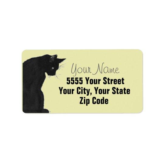 Elegant Black Cat Address Labels