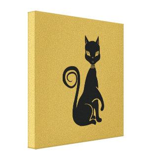 Elegant Black Cat Stretched Canvas Prints