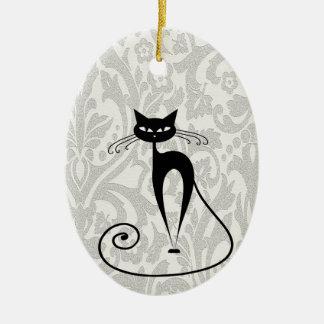 Elegant  black cat damask christmas ornament