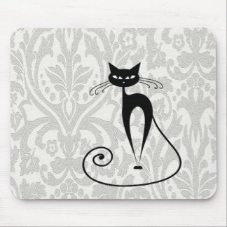 Elegant  black cat damask mouse mat